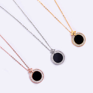 Black Stone Trim Necklace