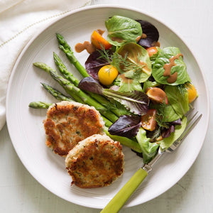 Crab Cakes with mixed greens