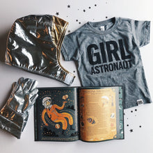 Load image into Gallery viewer, Girl Astronaut tri-blend tee, youth and adult sizes, #GirlStrong #girlpower #stem