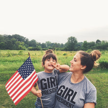 Load image into Gallery viewer, Girl President tri-blend tee, youth and adult, #GirlStrong #girlpower #sheshouldrun #feminist #girlwonderful