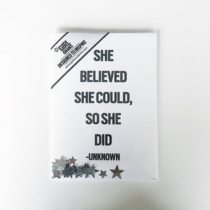 "Greeting card, message ""she believed she could"""