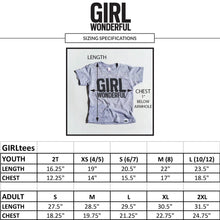 Load image into Gallery viewer, Girl Scientist tri-blend tee, size chart, youth and adult, #GirlStrong #girlpower #S.T.E.M. #girlscientist #girlwonderful