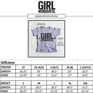 Girl Scientist tri-blend tee, size chart, youth and adult, #GirlStrong #girlpower #S.T.E.M. #girlscientist #girlwonderful