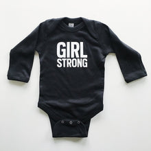 Load image into Gallery viewer, Girl Strong onesie sizes 6 month and 12 month, a great baby gift,  #girlstrong #girlpower