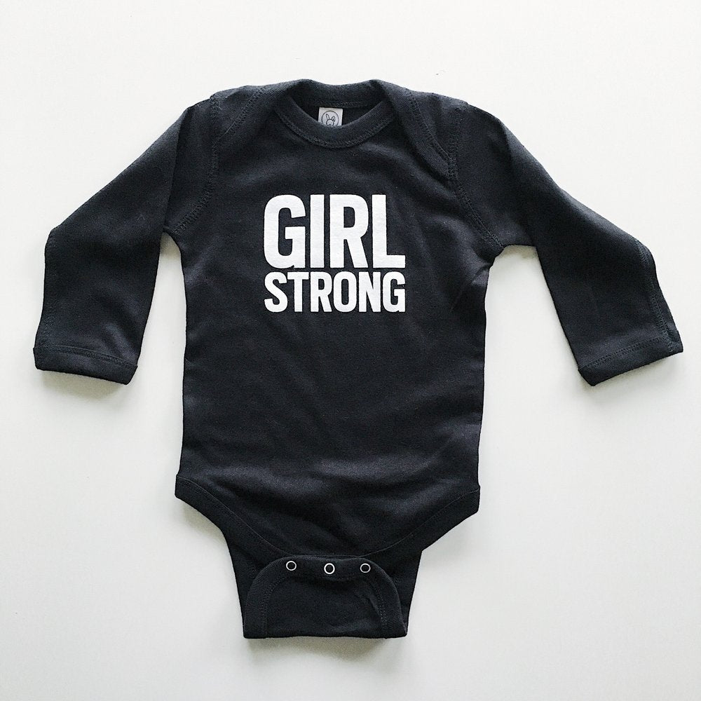 Girl Strong onesie sizes 6 month and 12 month, a great baby gift,  #girlstrong #girlpower