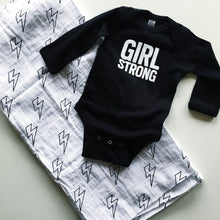 Load image into Gallery viewer, MODERN BURLAP ORGANIC COTTON MUSLIN SWADDLE - LIGHTNING BOLTS, gift idea - a Girl Strong Onesie and a Lighting Bolt Swaddle!