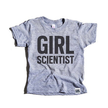 Load image into Gallery viewer, Girl Scientist tri-blend tee, youth and adult, #GirlStrong #girlpower #S.T.E.M. #girlscientist #girlwonderful