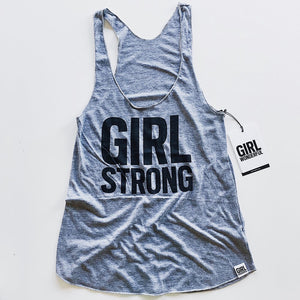 Girl Strong tri-blend tank, adult sizes,  #girlstrong #girlpower #girlwonderful
