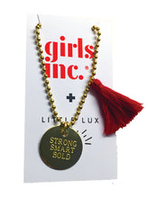 "Load image into Gallery viewer, GUNNER & LUX ""STRONG SMART BOLD"" NECKLACE, a great gift to inspire your girl! #girlpower #girlstrong #girlwonderful"