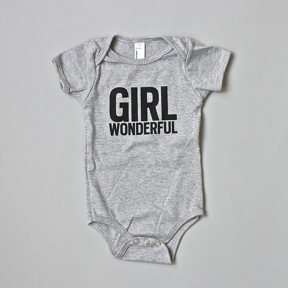 Girl Wonderful onesie sizes 6 month and 12 month, a great baby gift,  #girlwonderful #girlstrong #girlpower