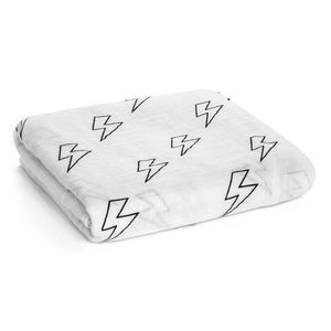 MODERN BURLAP ORGANIC COTTON MUSLIN SWADDLE - LIGHTNING BOLTS