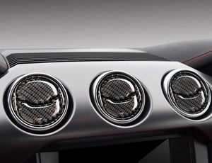 Red/Black Carbon Fiber Central Air Vents Trim