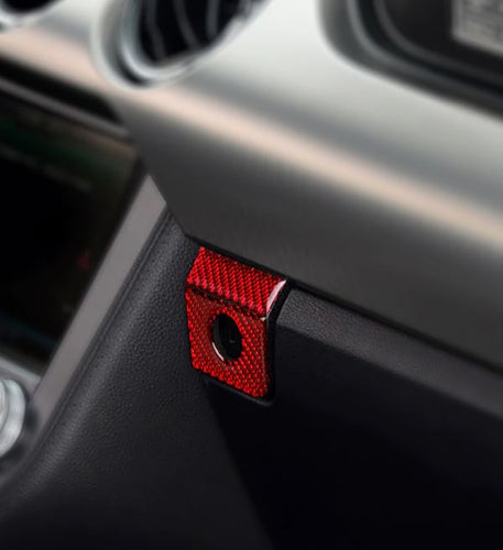 Red/Black Carbon Fiber Glove Box Button Trim