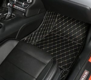 Premium Diamond Stitched Leather Floor Mats