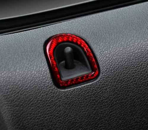 Red/Black Carbon Fiber Door Lock Surround Trim