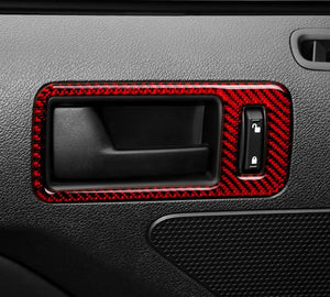 Red/Black Carbon Fiber Door Handles Trim