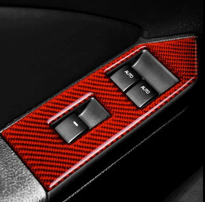 Red/Black Carbon Fiber Window Control Switch Panel Cover