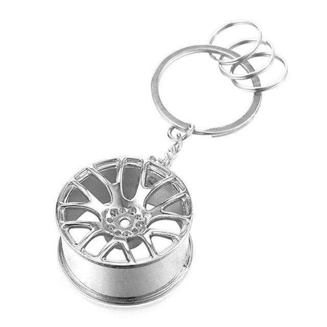 Chrome Wheel Key Chain