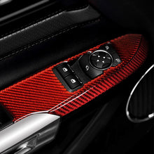 Load image into Gallery viewer, Red/Black Carbon Fiber Window Control Switch Panel Cover