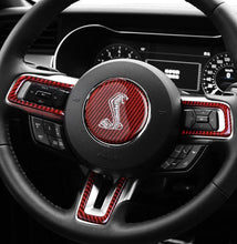 Load image into Gallery viewer, Red/Black Carbon Fiber Steering Wheel Trim