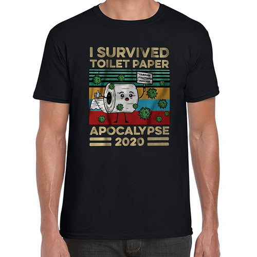 I Survived The Toilet Paper Apocalypse 2020 Funny Corona Tshirt Shirt Mens Unisex 6420