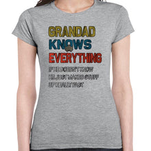 Load image into Gallery viewer, Grandad Knows Everything Funny Father's Day Statement Tshirt Shirt Lady Fit Ladies 6454