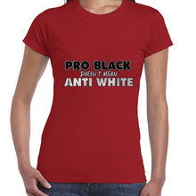 Load image into Gallery viewer, Pro BLACK Doesn't Mean Anti WHITE BLM Awareness Tshirt Shirt Lady Fit Ladies 6460