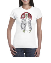 Load image into Gallery viewer, Franken Rockstar Music Inspired Halloween Tshirt Shirt Lady Fit Ladies 3302