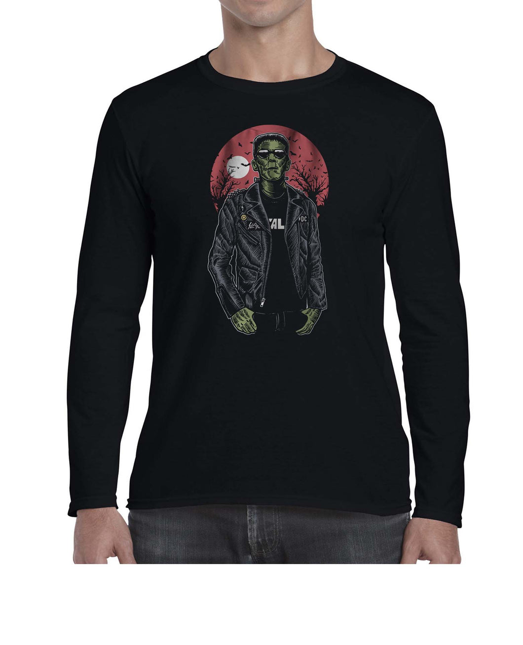 Franken Rockstar Music Inspired Halloween Long Sleeve Tshirt Shirt Mens Unisex 3302