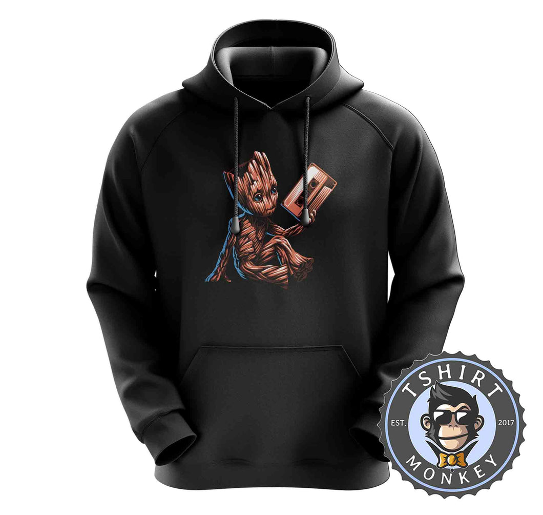Baby Groot Cassette Tape Cute Graphic Hoodies Hoodie Hoody Mens Ladies Kids Unisex 2372