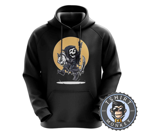 Death's Unicorn Funny Reaper Halloween Hoodies Hoodie Hoody Mens Ladies Kids Unisex 1577