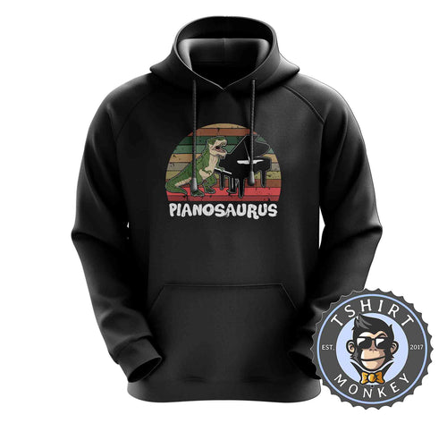 Pianosaurus Music Inspired Vintage Dinosaur Hoodies Hoodie Hoody Mens Ladies Kids Unisex 1530