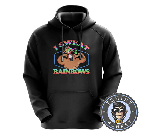 I Sweat Rainbows Funny Unicorn Graphic Hoodies Hoodie Hoody Mens Ladies Kids Unisex 1576