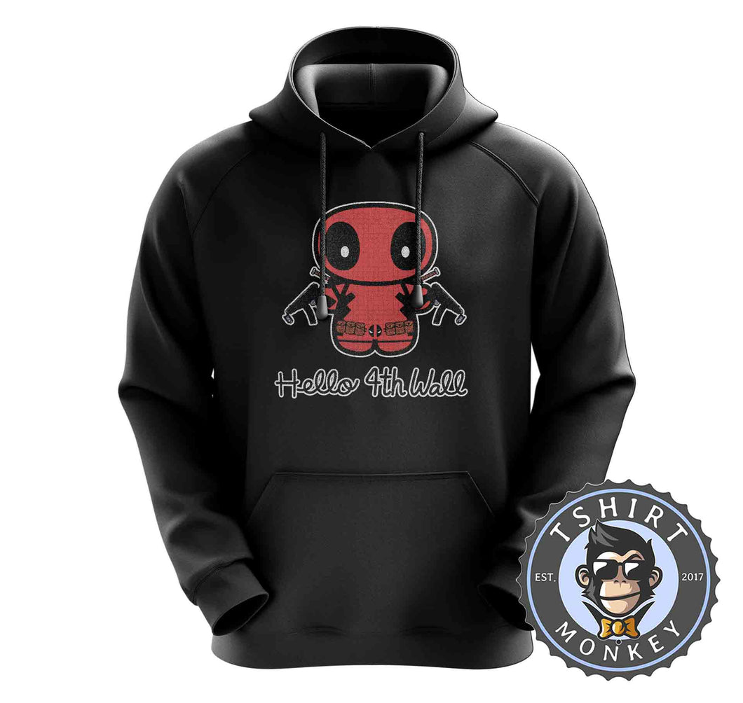 Hello 4th Wall Cute Deadpool Inspired Cartoon Hoodies Hoodie Hoody Jumper Pullover Mens Ladies Kids Unisex 1196