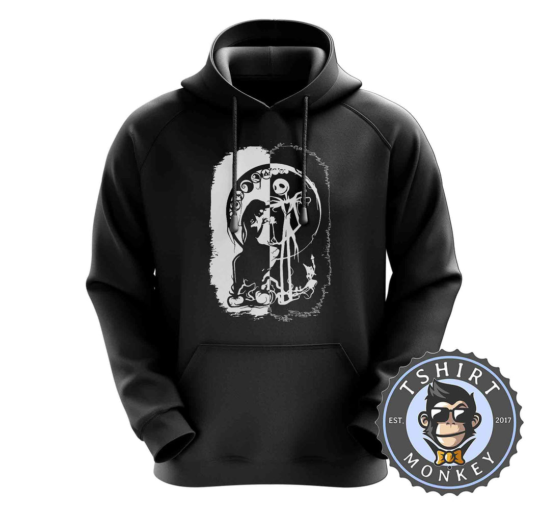Black And White Nightmare Before Christmas Halloween Hoodies Hoodie Hoody Jumper Pullover Mens Ladies Kids Unisex 1059