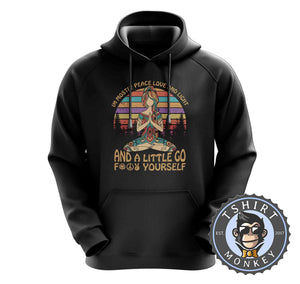 Mostly Love and Light Funny Namaste Vintage Hoodies Hoodie Hoody Jumper Pullover Mens Ladies Kids Unisex 1109