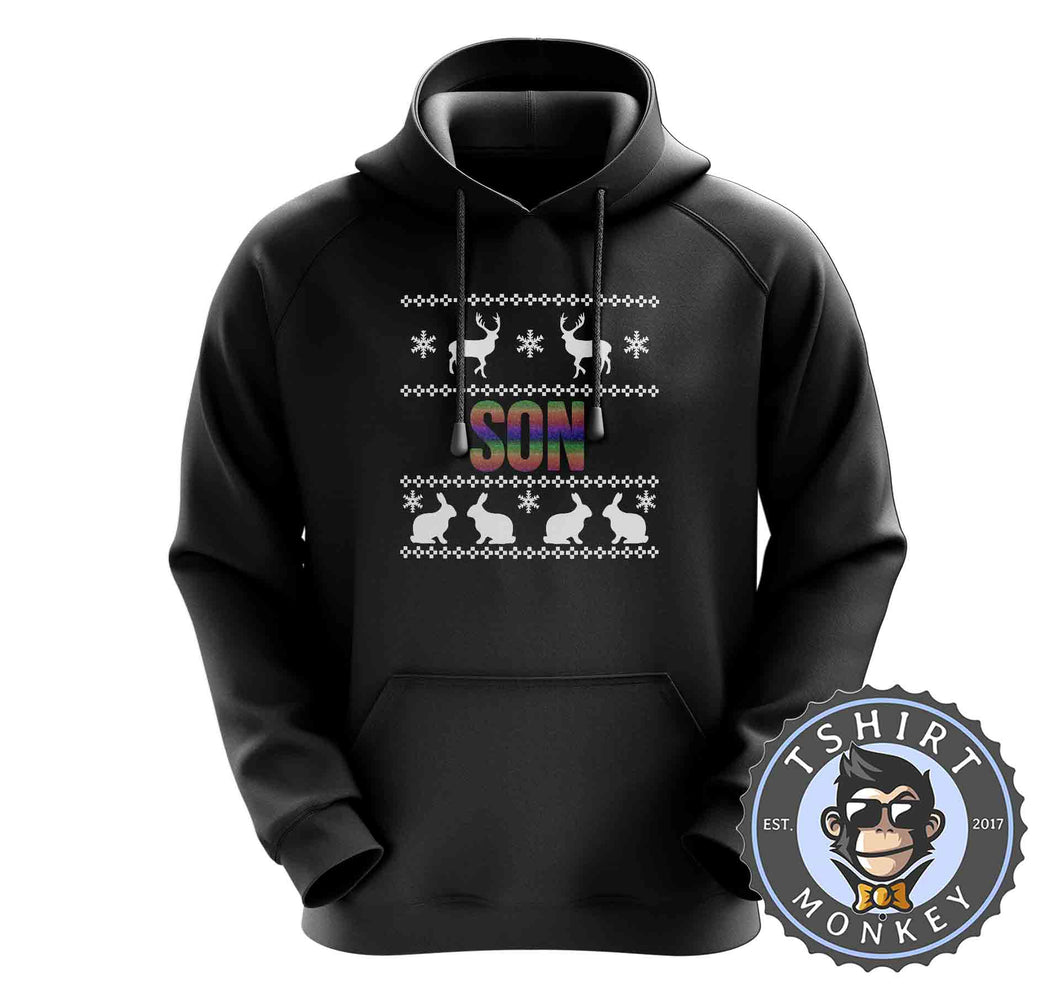 Son Rainbow Ugly Sweater Christmas Hoodies Hoodie Hoody Jumper Pullover Mens Ladies Kids Unisex 1664