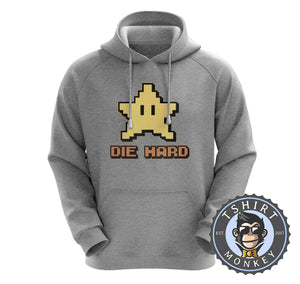 Die Hard - Super Mario Bros Star Inspired 8bit Pixel Gamer Hoodies Hoodie Hoody Jumper Pullover Mens Ladies Kids Unisex 1290