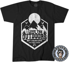 Load image into Gallery viewer, I Love Outdoor But Also Aircon and WiFi Funny Vintage Summer Tshirt Mens Unisex 1182