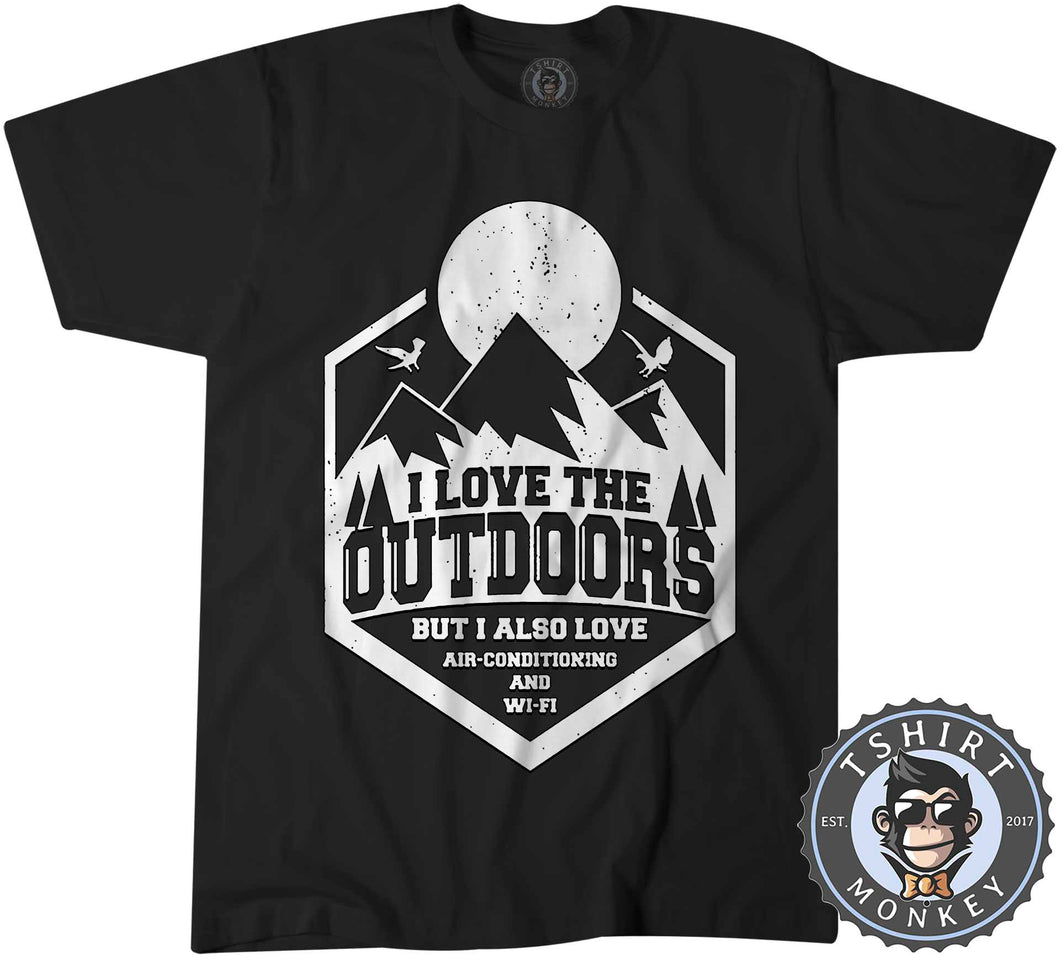 I Love Outdoor But Also Aircon and WiFi Funny Vintage Summer Tshirt Mens Unisex 1182
