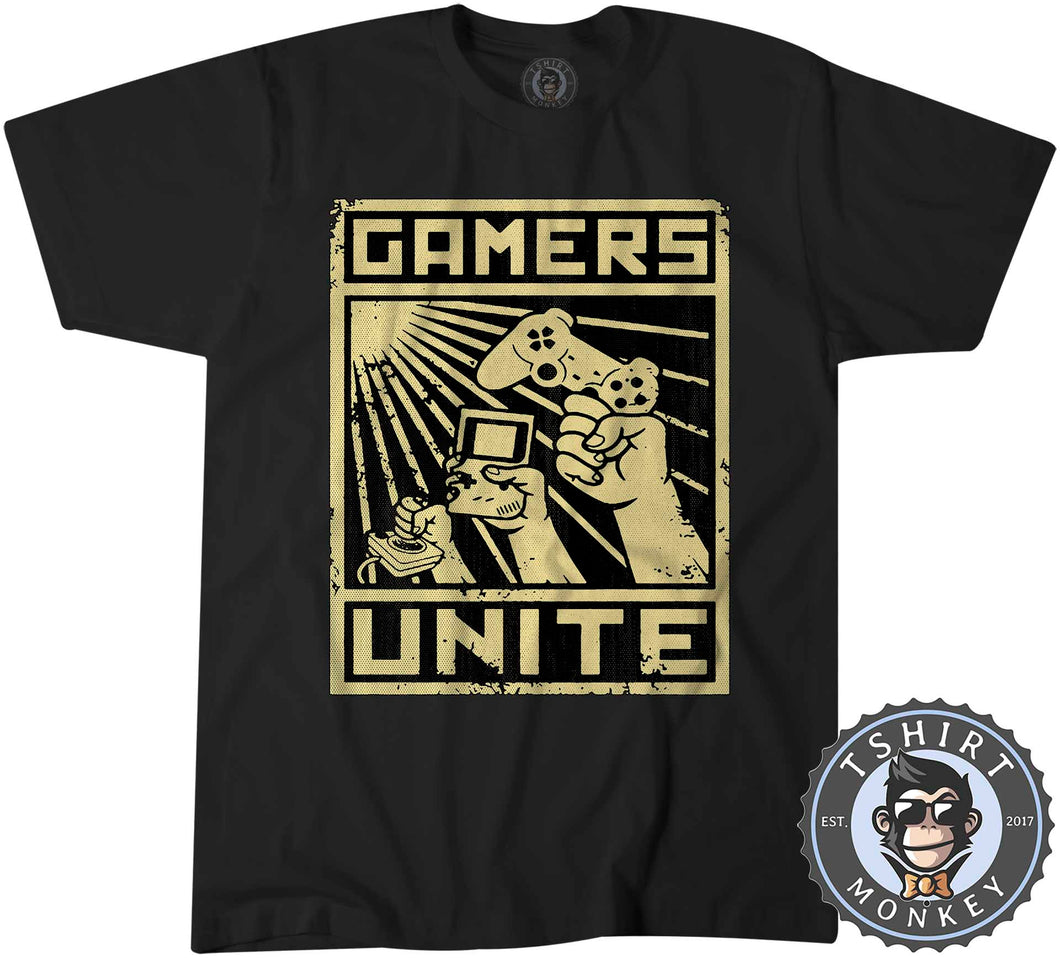 Gamers Unite - Vintage Halftone Gaming Graphic Tshirt Mens Unisex 1211