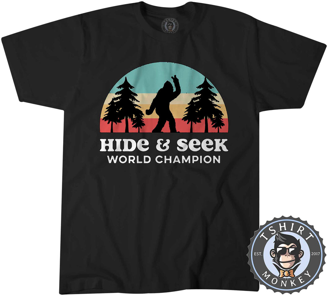 Vintage Hide And Seek World Champion - Bigfoot Sasquatch Funny Tshirt Mens Unisex 1067