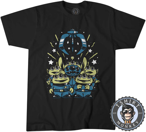 Little Green Men x Stitch Alien Cartoon Inspired Mashup Tshirt Shirt Mens Unisex 2393