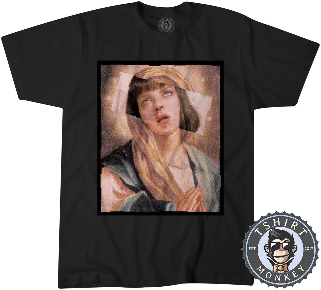 Virgin Mia Wallace Pulp Fiction Movie Inspired Halftone Graphic Illustration Tshirt Kids Youth Children 1130