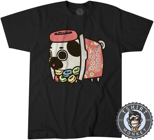 Poot Loops - Cute Pug Dog Cartoon Graphic Tshirt Shirt Mens Unisex 2614