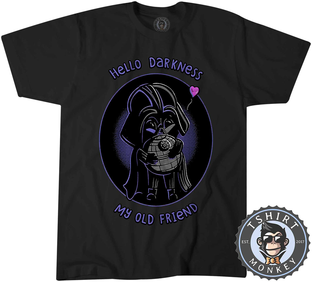Hello Darkness My Old Friend Cute Darth Vader Cartoon Tshirt Kids Youth Children 1269