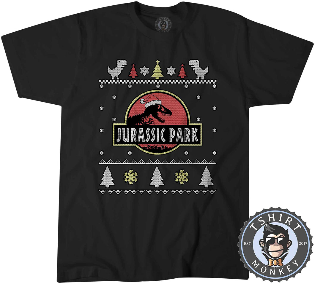 Jurassic Park Inspired Ugly Sweater Christmas Tshirt Mens Unisex 1643