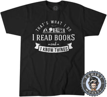 Load image into Gallery viewer, I Read Books And I Know Things Vintage Bookworm Graphic Tshirt Kids Youth Children 1281