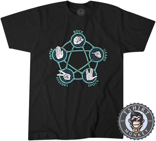 Rock Paper Scissors Lizard Spock - Big Bang Theory TV Inspired Tshirt Kids Youth Children 3075