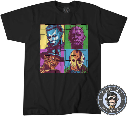 Tiled Scary Horror Pop Art Retro Halloween Movie Icon Tshirt Mens Unisex 1434